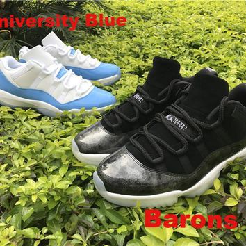 "Air Jordan Retro 11 Retro Low ""University Blue"" ""Barons"" Basketball Shoes With Shoes Box"