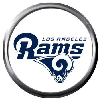 NFL Superbowl LA Rams Head White Football Fan Logo 18MM-20MM Snap Jewelry Charm New Item