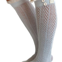 Lace boot socks - long, lace, knit, legwarmers