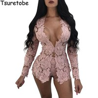 VONG2W 2017 New Summer Two Piece Elegant Floral Lace Playsuits Long Sleeve Hollow Out Skinny Short Sexy Jumpsuit Women Rompers Overalls