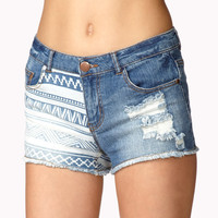 Destroyed Tribal Print Denim Shorts