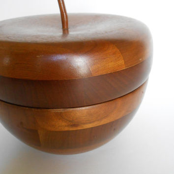 MId Century Walnut Wood Bowl with Apple Top Lid