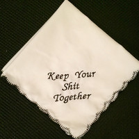 Keep Your Shit Together Wedding Handkerchief with an added name and date set of 5. Black, pink or white edge. Your choice of thread color.