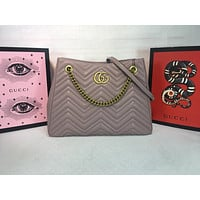 DCCK 984 Gucci Marmont Chain shoulder strap Corrugated shopping bags 36-27-14cm Gray