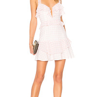 For Love & Lemons Dixie Ruffled Mini Dress in Pink Gingham