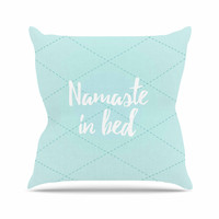 "KESS Original ""Namaste In Bed Teal"" Blue White Throw Pillow"