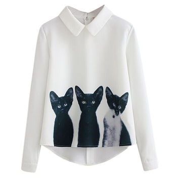 Lossky  New Fashion Cats Printed Pullover Shirts Long Sleeve Casual Women Korean White Blouse Ho