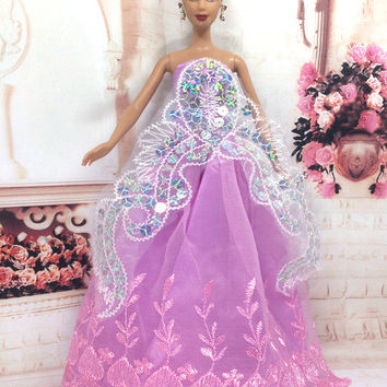 NK One Pcs 2016 Princess Wedding Dress Noble Party Gown For Barbie Doll Fashion Design Outfit Best Gift For Girl' Doll 053B
