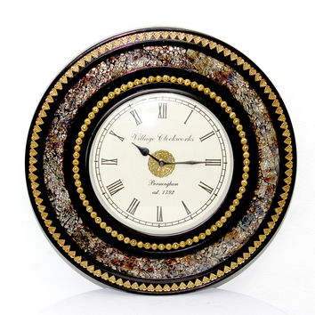 Aakashi Gold Brass Carving Wall Clock