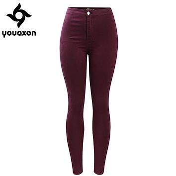 2035 Youaxon Women`s Burgundy Elastic Denim Jean Pants Trousers Skinny Pencil High Waisted Woman Jeans Femme