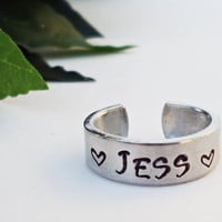 Personalized Name Ring - Personalized Ring - Custom Name Ring - Handstamped Ring - Name Ring - Mothers Ring - Adjustable Ring - Silver Ring