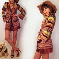 Vintage 1970's Southwestern Space Dye Boho Navajo Wrap Sweater || Bobbi Brooks Bohemian Ethnic Bell Sleeves Size Extra Small to Small XS