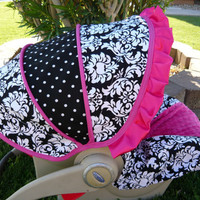 Damask with Hot Pink  Infant Car Seat Cover- Moves to toddler