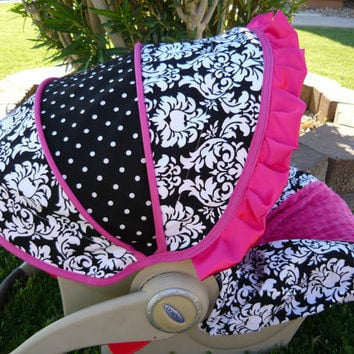 Damask With Hot Pink Minky Center And Accents Infant Car Seat Cover Matching