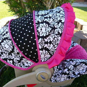 Damask With Hot Pink Infant Car Seat Cover Moves To Toddler