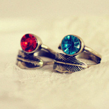 2012 New Arrival 1pcs Vintage Clear Rhinestone Leaf red Ring free shipping   eBay