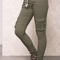 Olive Cargo Drawstring Slim Pants
