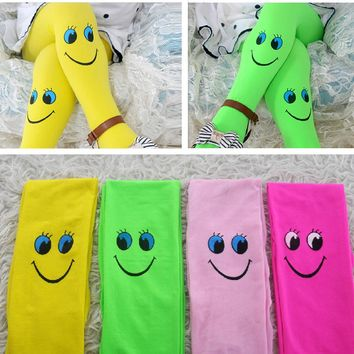 Muiti-Colors Girls Tights Kids Novelty Cartoon Cute Smile Stockings Baby Soft Velvet Ballet Pantyhose Princess Knee High Socks