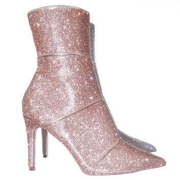 Whitney1 Rhinestone Crystal Ankle Bootie - Womens Embellished Pointed Toe Boots