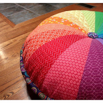 "Washable! 40"" Enormous Pouf; RAINBOW; Giant Floor Cushion; 102 cm, Luxurious, Quilted & Reinforced; Cover only"
