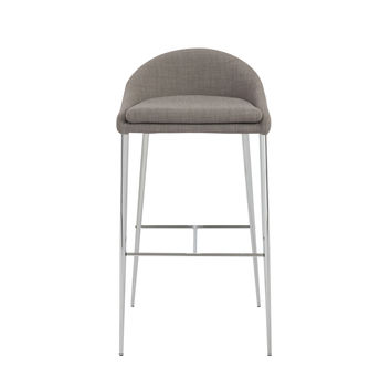 Brielle Bar Stool in Gray with Chrome Legs (Set of 2)
