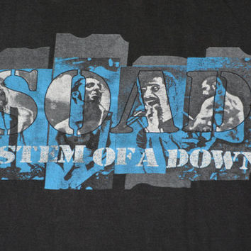 Vintage Black SOAD System of a Down Cotton T-Shirt -  Retro Rock Tee Size S Small
