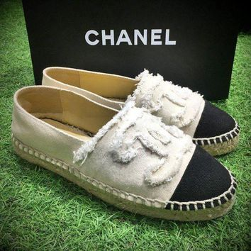 DCK7YE Best Online Sale Fashion Chanel Logo Canvas White Grey Espadrilles Flats Stitched Slip