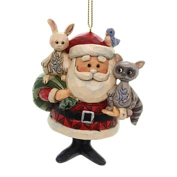 Jim Shore SANTA W/WOODLAND ANIMALS Polyresin Ornament Rudolph 6001598