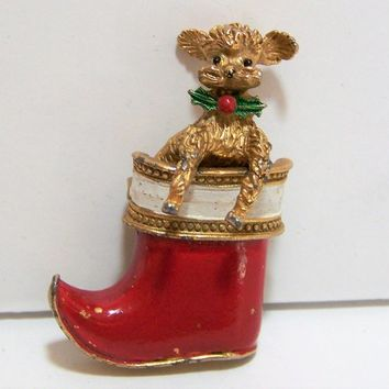 Gerrys Christmas Poodle Brooch, Dog in Stocking Pin, Gold Tone Figural Jewelry, Mid Century Holiday Jewellery 917
