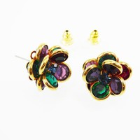 Multi Colored Earrings Bezel Set Crystal Beads Gold Tone Studs Cluster Design Green Red Blue & Purple Vintage 1980s 1990s  Austrian Crystals