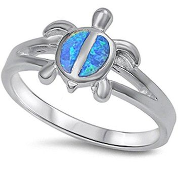 Simulated Fire Blue Opal turtle 925 Sterling Silver Ring Sizes 510