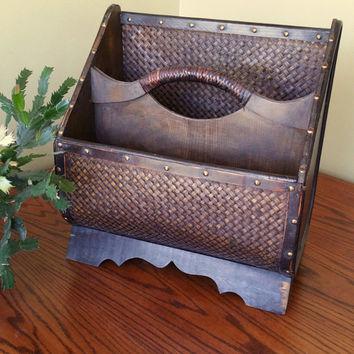 Vintage Magazine Rack Wood Boho Home Decor Wooden Magazine Rack Ethnic Large Magazine Holder News Rack