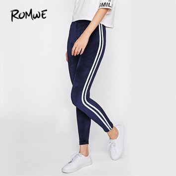 Women Navy Brief Basic Fitness Winter Pants New Workout Slim Leggings
