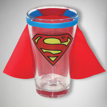 Superman Logo Caped Pint Glass