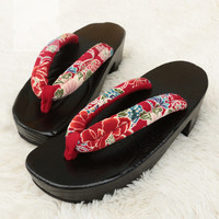 Women's Wood Sandals Black Med Heel Shoes/Flip Flops/Beach Slippers Japan Geta/Clogs Kimono Shoes