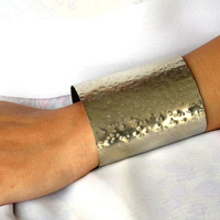 Very wide cuff, hammered non tarnish nickel silver unisex arm band, modern metal jewelry