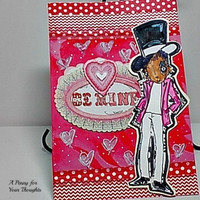 Be Mine Handmade Valentine Card . Ready to Ship.