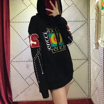 gucci fashion diamond letter print long sleeve hooded sweater women casual pullover hoodie tops-1