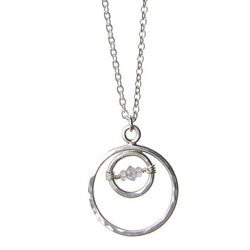 Medium Double Circle Necklace in choice of gemstone