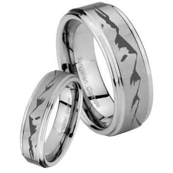 His and Hers Step Edge Mountain Tungsten Silver Wedding Rings Set