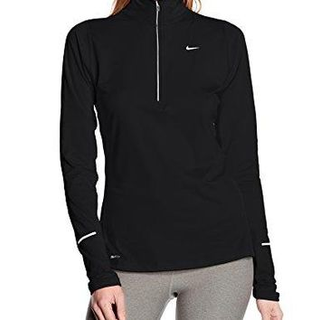 Women's Nike Element Half-Zip Running Top Black/Reflective Silver Size Medium