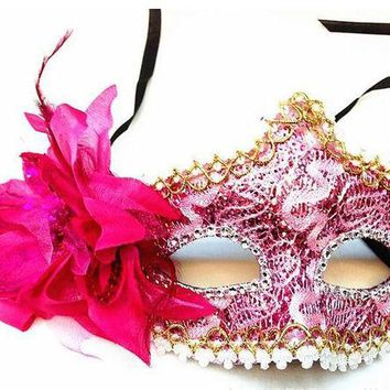 DCCKF4S Side Flower Princess Masquerade Masks Party Mask Fashionable Women Halloween Mask Female Lower Half Mask Lady's Makeup Props