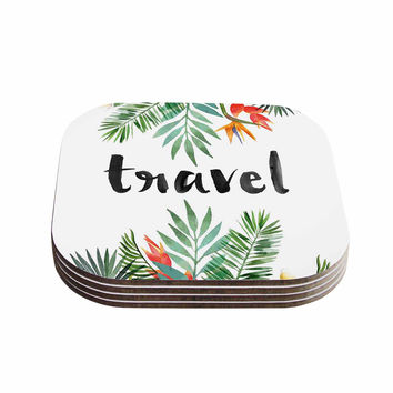 "KESS Original ""Travel"" Green White Coasters (Set of 4)"