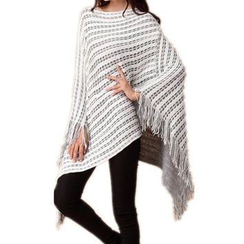 Elegant New Fashion Women Clothes Hollow Out Poncho Cloak Sweater For Women Lasies 2015 Autumn Winter Pullovers Knitwear Jumper = 1958308164