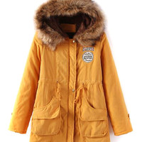 Yellow Pocket Patch Detail Faux Fur Hooded Parka Coat