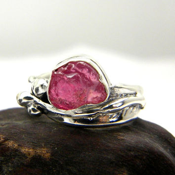 Sterling silver leaf ring - raw ruby- hand made silver ring with rough ruby stone, July birthstone size 7.5