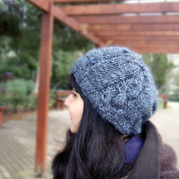 Women's slouchy knit hat, grey blue knit hat, winter knit wool hat, cable knit slouchy beanie, womens accessories, womens winter hat