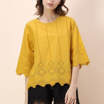 Playful Square Eyelet Top in Mustard