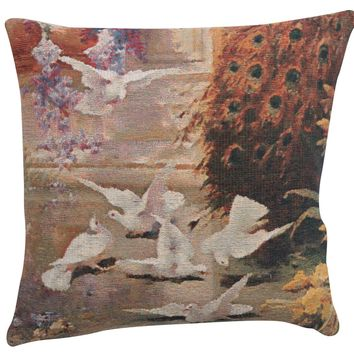 Peacock & Doves European Cushion