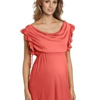 Maternal America Women's Maternity Ruffle Sleeved Top
